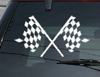 Crossed Checkered Finish Line Flags